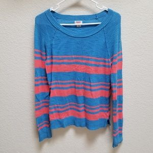 Blue/Salmon Striped Sweater